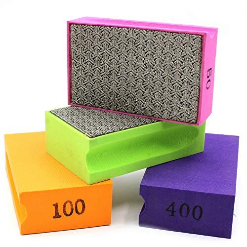 Juego de 4 esponjas de lijado en grano 50, 100, 200, 400 para lijar o desbarbar azulejos, cerámica, vidrio, mármol, piedra natural o artificial.