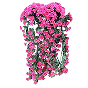 Hanging Flowers Artificial Violet Flower Wall Wisteria Basket Hanging Garland Vine Flowers Fake Silk Orchid