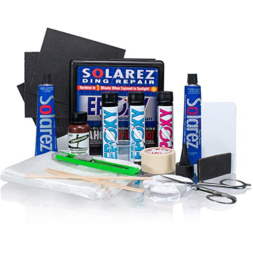 SOLAREZ UV Cure Epoxy PRO Travel Gift Kit ~ Epoxy Surfboard Repair Kit ~ Cures 3 min in The Sun for a Professional Repair! Plus - Low Odor, Easy to Use, Made in The USA!