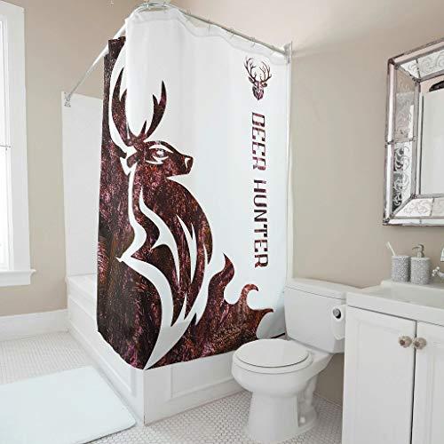 Knowikonwn Cortina de ducha con diseño de cazador de ciervos, para decoración de bañera, color blanco, 150 x 180 cm