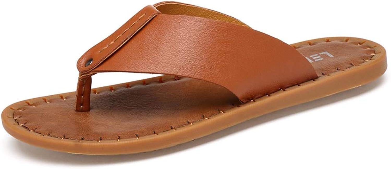 RONGLINGXING Mode Sommer Outdoor Casual Flip Flops für Mnner Casual Slipper Strand Schuhe Thong Sandalen Slip On Leder Flache Ferse Comfy Lightweight (Farbe   Braun, Gre   44 EU)
