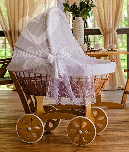 ComfortBaby ® HOME XXL Baby Stubenwagen mit Moskitonetz - komplette 'all inclusive' Ausstattung - Zertifiziert & Sicher (Natur-Weiß)