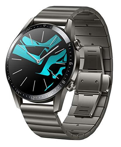 HUAWEI Watch GT 2 Smartwatch (46mm Full-Color-AMOLED, SpO2-Monitoring, Herzfrequenzmessung, Musik WiedergabeundBluetooth Handyie, 5ATM wasserdicht, GPS) Titanium Gray
