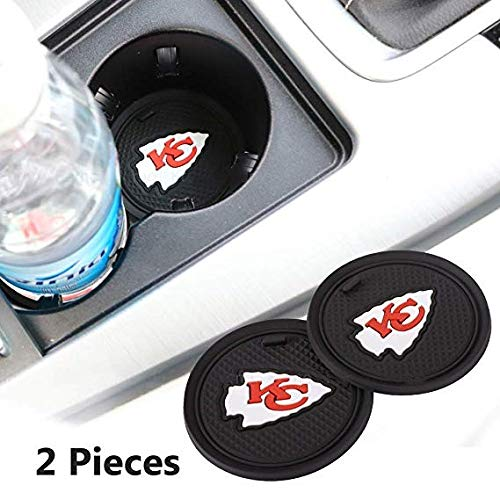 Fujun Upgraded 2 Pcs 2.75 inch for Kansas City Chiefs Car Interior Accessories Anti Slip Cup Mat for All Vehicles(Kansas City Chiefs)