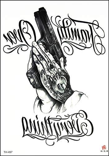 GS912 Tattoo 8.2''X5.7'' Hand Respect Gun Cartoon Large Tattoos Temporary Waterproof Sexy Body Fake Stickers Old School Tattoo Art Fantasy for Men Women (05)