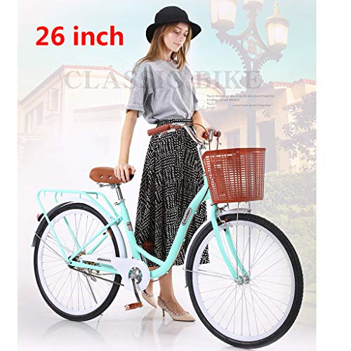 ?US Spot? Womens Beach Cruiser Bike-24 Inch Unisex Classic Iron Bicycle with Basket Retro Bicycle Unique Art Deco Scooter,Road Bike,Seaside Travel Bicycle,Single Speed, 24-inch Wheels (Blue)