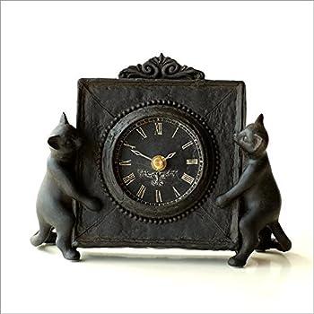 置時計 ねこ 猫 置き時計 かわいい おしゃれアンティークな時計とネコさん [swa4682]