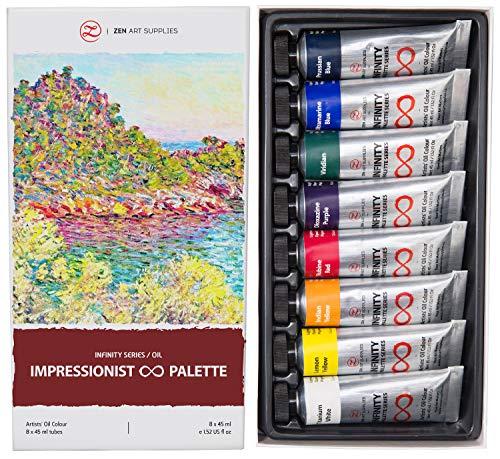 ZenART Set Professionale di Colori ad Olio per Pittura - 8 Tubetti da 45 ml – Infinity Series Impressionist Palette per Artisti - Eco-Friendly, Atossici, Resistenti alla Luce, Altamente Pigmentati