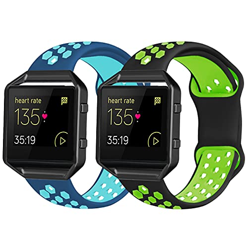 2 Pack Bands Compatible with Fitbit Blaze with Black Frame for Men Women, Soft Silicone Breathable Replacement Sport Accessory Strap Wristband for Blaze Smart Fitness(Green/Blue, Large)