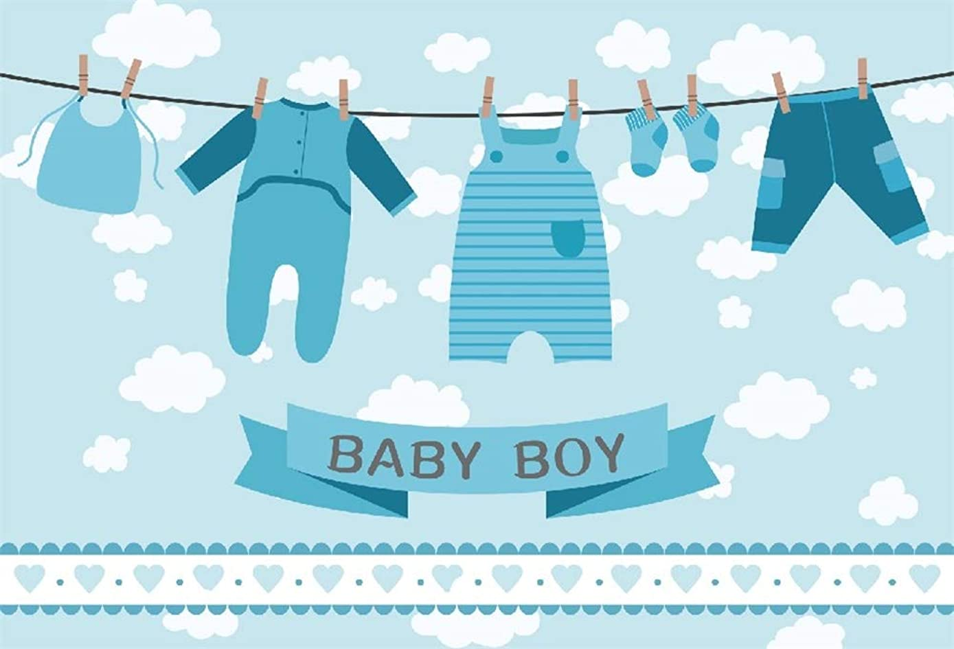 DaShan 5x3ft Polyester Photography Backdrop Baby Shower Boy Rompers Socks Pants Napkin on Clothesline White Clouds Background for Birthday Party Banner Picture Taking YouTube Photo Studio Props