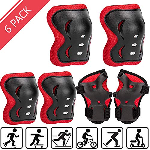 Uggkin Kids Protective Gear Set Knee Pads Elbow Pads Wrist Guards 3 in 1 Safety Pads Set for Kids for Cycling Skating Rollerblading Skateboard Scooter (Black&Red, Small(3-8 Years))