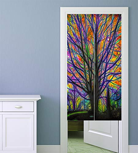 MYRU Japanese Noren Doorway Curtain Tapestry (Life Tree, 33.5 Inches x 59 Inches)