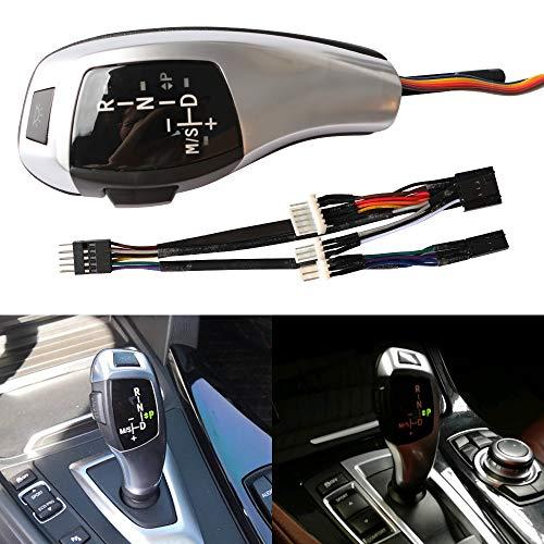 XENPLUS LED Car Gear Shift Knob, LHD Automatic LED Illuminated Gear Shift Knob Shifter Lever for BMW E46 2D 4D E60 (Silver)