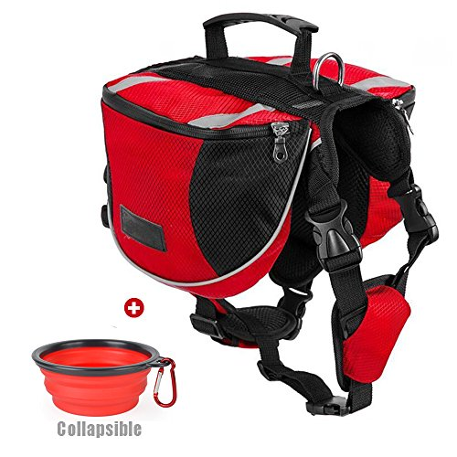 Lifeunion Polyester Dog Saddlebags Pack Hound Travel Camping Hiking Backpack Saddle Bag for Small Medium Large Dogs with Collapsible Pet Food Bowl (L, Red+Bowl)