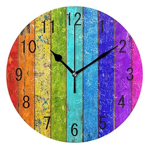 Use7 Home Decor bunte Wanduhr aus Holz, Retro-Stil, Regenbogenfarben, rund, Acryl, nicht tickend, geräuschlose Uhr, Kunst für Wohnzimmer, Küche, Schlafzimmer