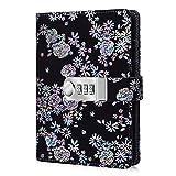 ARRLSDB Diary with Lock, PU Leather Multi Color Combination Lock Journal (Combination Lock Diary) A6 Refillable Personal Locking Diary (Black)
