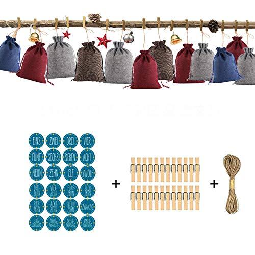 Factory Direct Sale Linen Bag Drawstring Drawstring Mouth Christmas Gift Bag Set Countdown Advent Calendar Gift Bag Customization