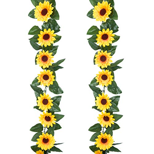 ROMAY 2 Pack 7.9FT Artificial Sunflower Garland Silk Sunflower Vine Artificial Garland with Sunflower Heads for Home Wedding Parties