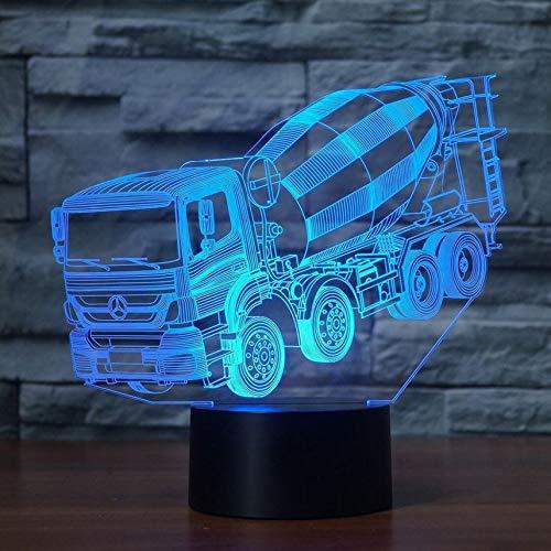 Luz nocturna 3D 7 colores cambiantes LED licuadora mesa de coche lámpara de escritorio de los niños junto a la cama del sueño mezclador camión iluminaciones regalos de navidad decoración