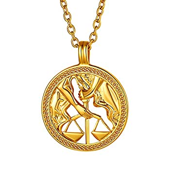 FindChic Libra Necklace for Women Men Horoscope Zodiac Round Disc 18K Gold Plated Jewelry Personalized Medal Coin Pendant Birthday Gift