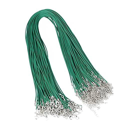 QWXX Cuerda de joyería 20pcs 1.5mm Cuerda de Cuero Cuerda de Cuerda Cuerda 45 + 5 cm Collar de Cadena Cierre de Langosta Bricolaje Joyas Haciendo hallazgos Accesorios Moda (Color : Green)