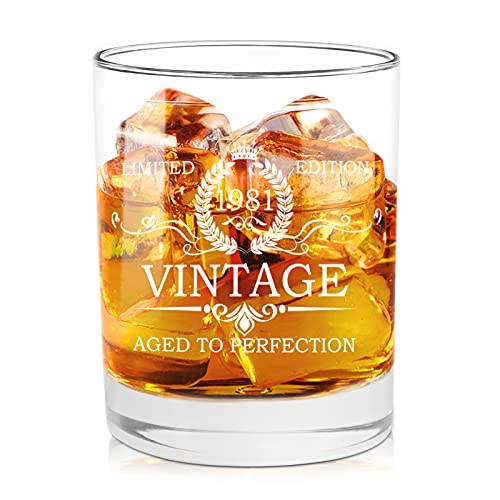 40th Birthday Gifts for Men 1981 Vintage Whiskey Glasses - Unquie Gift for Men, Dad, Mom, Husband, Him, Friends Turning 40, 40th Birthday Gift Ideas for Men from Daughter, Kids, Wife, Son, 11 oz