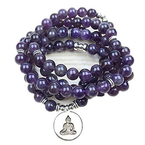 ZHIRCEKE Diseño de Lujo Purple Natural Gemstone 108 Mara Lotus Pulsera o Collar Reiki Buddhist Rosario Pulsera,B