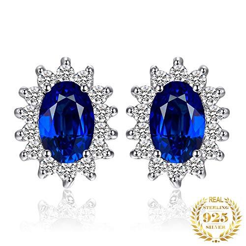 NOBRAND Aretes De Plata Mujer Aretes De Zafiro Azul 925 Pendientes De Plata para Mujer Pendientes Joyas De Moda