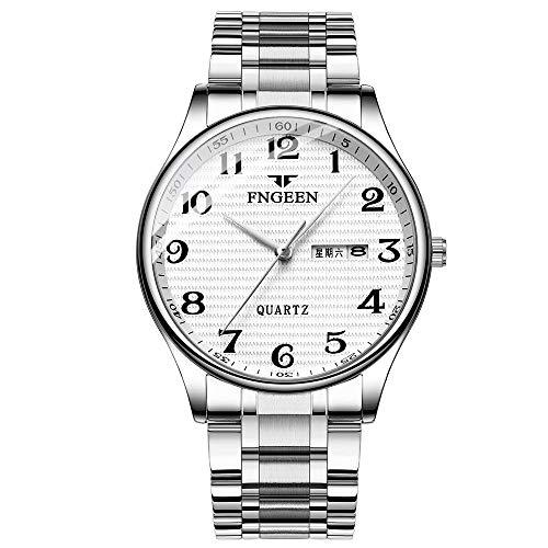 Relojes para Hombre Reloj de Pulsera mecánico de Pulsera de Cuero con Esfera de Acero Inoxidable analógico a Prueba de Agua a la Moda -E