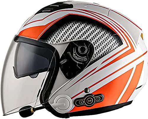 Casco Jet Para Motocicleta, Medio Casco Bluetooth Para Motocicleta Con Visera Doble, Scooter Aprobado Por ECE, Monopatín, Ciclista, Joven, Hombre, Mujer, Casco Deportivo C,M