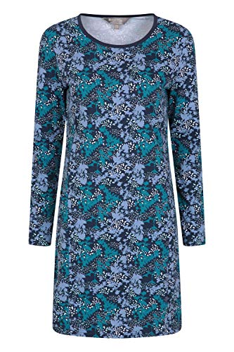 Mountain Warehouse Bedrucktes Damenkleid mit Schlüsselblumenmotiv - Strandkleid aus 100% Baumwolle, leicht, atmungsaktiv - ideal für Ausflüge, Picknicks, als Geschenk Dunkelblau 32 DE (34 EU)