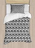 ABAKUHAUS nordisch Bettbezug Set für Einzelbetten, Schwede Dala Pferde, Milbensicher Allergiker geeignet mit Kissenbezug, 130 x 200 cm, Schwarz & weiß