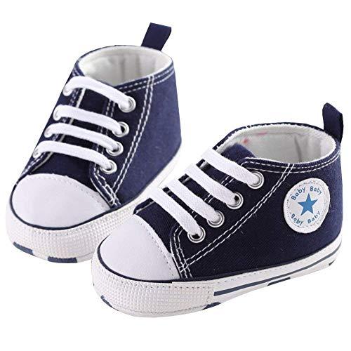 WangsCanis Babyschuhe Baby Junge Mädchen Schuhe Sneakers Weiche Leinwand mit Weichen und Rutschfesten Sohle Für 0-6 6-12 12-18 Monat (Dunkelblau, 3_Months)