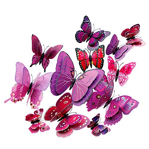 12 Stück 3D Schmetterlinge Wandsticker Wandaufkleber Aufkleber Wandtattoo Wanddeko für Dekoration mit klebebuttons und Magnet, Geschenk für Kinder, Mutter, Freundin, Hochzeit
