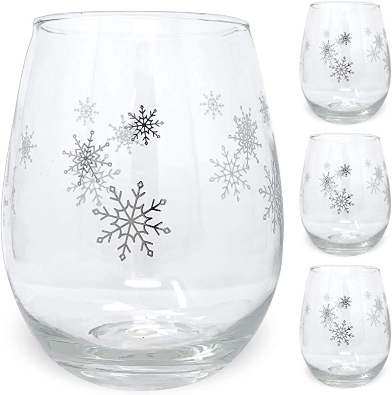 Winter Wine Glass Set Set Of 4 Stemless Glasses With Silver Snowflake Designs 14oz