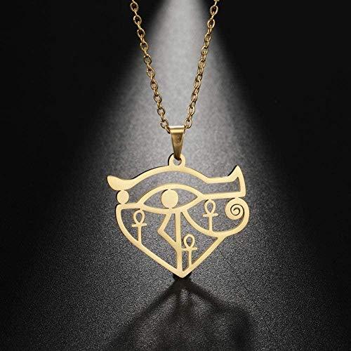 NC86 Amuleto de Horus para Mujer, Collar con Cruz egipcia Antigua, joyería Religiosa, Colgante de Acero Inoxidable para Mujer