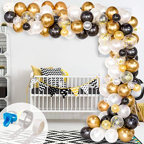 Whaline Balloon Arch & Garland Kit, 120Pcs Black, White, Gold Confetti and Metal Latex Balloons with 1pcs Tying Tool, Balloon Strip Tape and Glue Points for Graduation Wedding Birthday