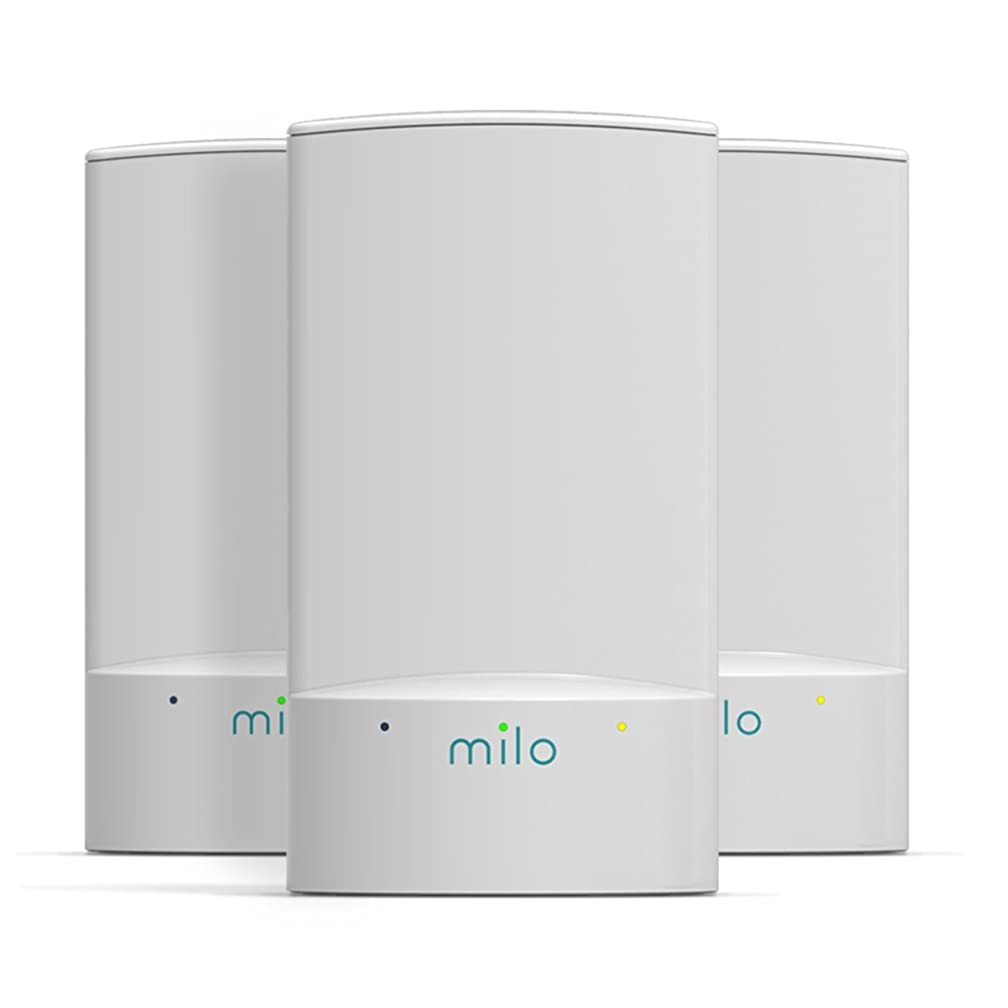 milo 2.0 Three-Pack WiFi Range Extenders - Whole Home Distributed WiFi, BaseLink Network Technology, Hybrid Mesh Technology, Increase WiFi Coverage Area up to 3,750 Sq. Ft.