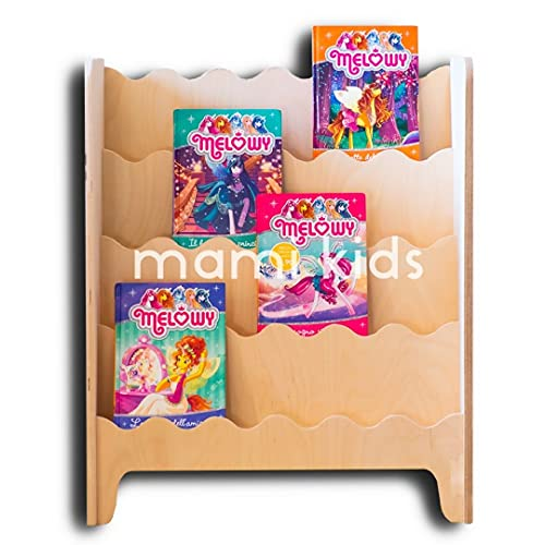 Mami - Librería Montessori de madera para niños | dormitorio infantil | Porta libros cómics cuadernos de dibujos | 100% Made in Italy | 4 estantes | Modelo Pinball