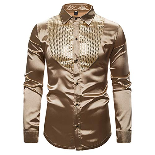 Men's Shirts Tops Mens Classic Sequins Bling Shirt Long Sleeve New Spring Autumn Comfy Shirts Slim Fit Button Lapel Shirt Casual Shirt Fashion Shirt Wedding Party Prom XXL