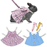 ROZJOVU Bunny Harness Vest and Leash for Rabbits Small Animal Dress Clothes Adjustable Harness and Leash for Bunny Walking 2 Set(Blue + Pink Floral)