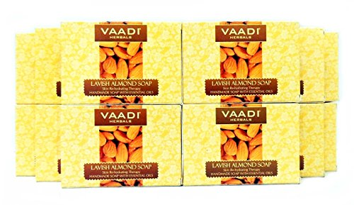 Almond Oil Bar Soap - Handmade Herbal Soap with 100% Pure Essential Oils - ALL Natural - Each 2.65 Ounces - Pack of 12 (32 Ounces, 2 Lb) - Vaadi Herbals (Almond Oil Soap)