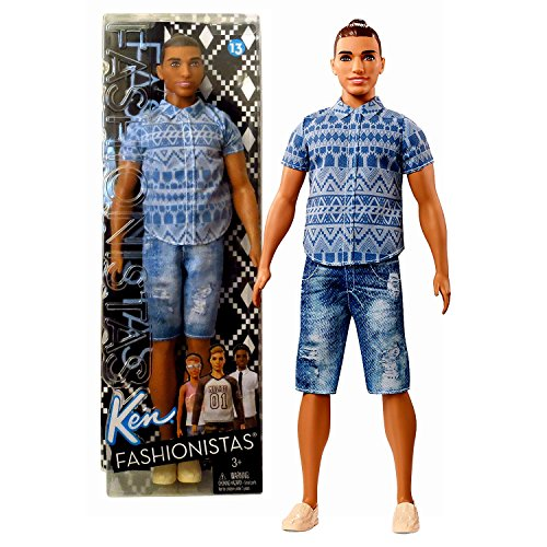 Fashionistas Barbie Year 2016 Ken Series 12 Inch Doll - Muscular Native American Ken FNJ38 in Blue Tribal Prints Shirt and Distressed Denim Shorts