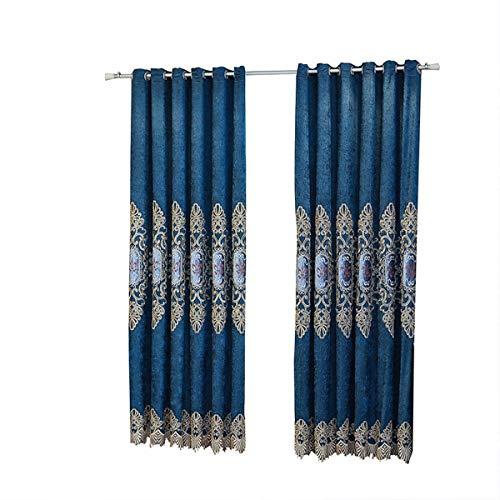 WBXZAL-Rideaux European Parasol brodés Rideau Tissu de Chenille Produit Fini Custom Salon Chambre Luxe étage Rideaux,200,À