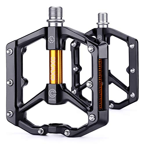 CXWXC Road/MTB Bike Pedals - Aluminum Alloy Bicycle Pedals - Mountain Bike Pedal with Removable Anti-Skid Nails (Black-Gold)