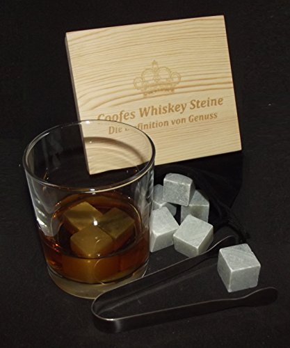 Coofes Whiskey Steine Geschenk Set mit 9 Wiederverwendbaren Whisky Steinen in Geschenkbox aus Holz mit Zange und Beutel