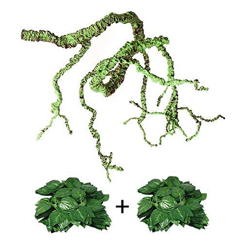 Flexible Bend-A-Branch Jungle Vines Plastic Terrarium Plant Leaves Pet Habitat Decor for Lizard,Frogs, Snakes and More Reptiles(Pack of 3) (Reptile Vines)