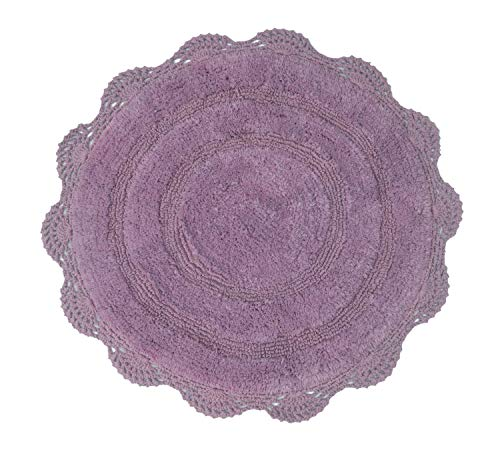 Chardin Home - 100% Pure Cotton - Crochet Round Bath Rug, 24'' Round Mat, Lavender with Latex Spray Non-Skid Backing.