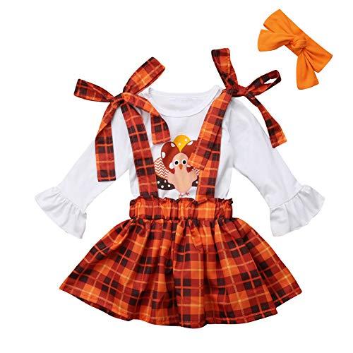 Toddler Kids Girl Thanksgiving Outfits T-Shirt Tops+Plaid Suspender Skirt+Headband Set (3-4T, White, Orange)