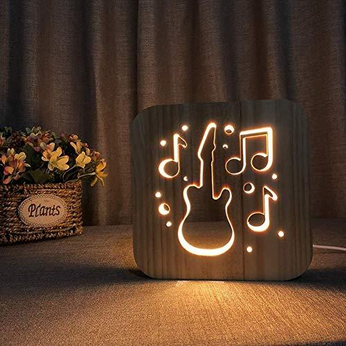 LLLQQQ Led Nachtlicht USB Holz Hohl Gitarre Bilderrahmen 3D Lampe Kreative Augenpflege Kleine Tischbeleuchtung Kinder Erwachsene Schöne Geschenke Hause Schlafzimmer Dekorative Spielzeug, Warmweiß